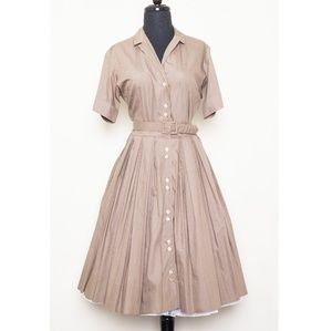 1950s shirt dress with full pleated skirt